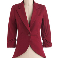 Fine and Sandy Blazer in Burgundy | Mod Retro Vintage Jackets | ModCloth.com