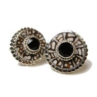 Tree Bark Jewel Circle Onyx Shell and Sterling Silver Cufflinks-DD-I20-02800