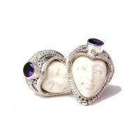 Nebula Cufflinks Bone Amethyst and Sterling Silver-DD-I13-03000
