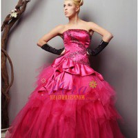Trendy Strapless Ball Gown Pink Taffeta Quinceaera / Prom Dress