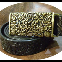 womans leather black designer belt