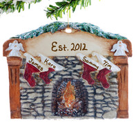 Fireplace Family of 4 Christmas ornament -  personalized ornament - stocking ornament for a family of four or group of four