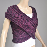 Super Slim - Cross Sweater/Capelet/Neck warmer in Mulberry .