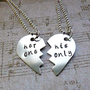 Her one - His Only Hand Stamped scouples necklaces his and hers necklace  set