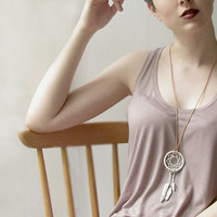 Bohemian Jewelry - White Dreamcatcher Porcelain on Leather Necklace - Long Necklaces