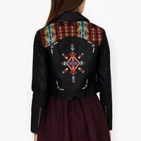 tribal-inset-leather-moto-jacket BLACKRED - GoJane.com