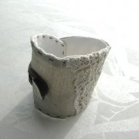 organic shaped silver cotton fabric and vintage trims cuff