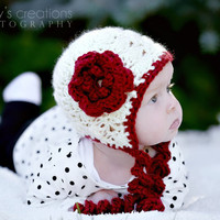 Crochet Baby Hat Crochet Hat Baby Girl Hat Flower Hat Baby Bonnet Newborn Hat Infant Hat Christmas Hat Photo Prop Scarlet Cream