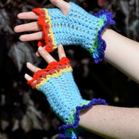 Fingerless Crochet Gloves inspired by RainbowDash