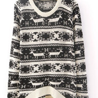 X&#x27;mas Deer Asymmetric Sweater Black  S006878