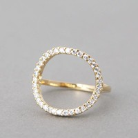 CIRCLE LOVE RING SWAROVSKI CIRCLE RING YELLOW GOLD CIRCLE JEWELRY by Kellinsilver.com - Fashion Jewelry Stores as ETSY