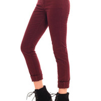 GYPSY WARRIOR - Burgundy Skinny Jeans