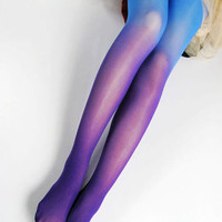 ROMWE | Tie-dyed Velvet Blue Tights, The Latest Street Fashion