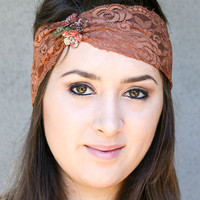 Rust elastic lace headband with sequin flowers, women hair accessories