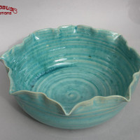 Serving Bowl - Baby Blue with Decorative Rim
