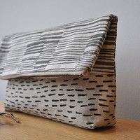 LARGE POUCH lines/rain by bookhouathome on Etsy