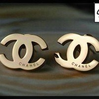 CHANEL Earrings logo gold color classic chic fashionable not auth AAA+