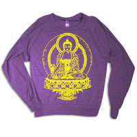 Womens BUDDHA Tri-Blend Pullover - american apparel S M L (orchid purple)