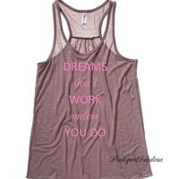 Womens Racer back Tank Top, Pebble Brown Tank, Dreams