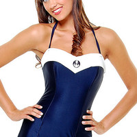 Navy & White Trim Anchor One Piece Swimsuit - Unique Vintage - Bridesmaid & Wedding Dresses