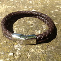 Mens Leather Bracelet, Braided Bolo Leather, Dark Brown (or Black), Stainless Steel Magnetic Clasp  (LB-380)