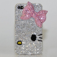 3D Luxury Crystal Diamond Bling Pink Cat Case Cover for iphone 4 4S BY SMILEONE