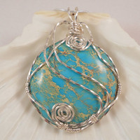 Blue Sea Sediment Jasper, Wire Wrapped Handmade Jewelry