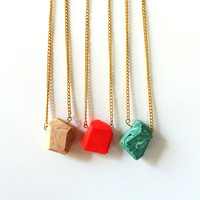 pick a color large pendant geo necklaces by amerrymishap on Etsy