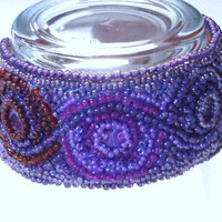 Handmade Bead Embroidered Cuff Bracelet in Purples