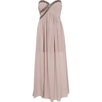 Beige Little Mistress strapless maxi dress