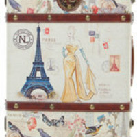 Antique Postage Stamp Ivory Rolling Suitcase - Unique Vintage - Bridesmaid & Wedding Dresses