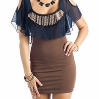 beaded front cold shoulder dress