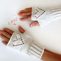 Knit Heart Fingerless Gloves - White Gloves, Love Gloves, Romantic Gift for Her