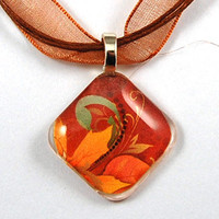 Glass Tile Pendant with Fall Leaf Design on a Brown Organza Necklace