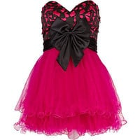 Bright pink print Forever Unique prom dress
