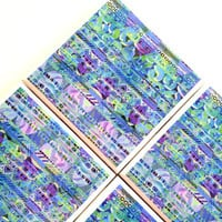 Blue Tribal Coasters, Ceramic Tile Set, Geo Geometrical Youthful Hipster, Purple Green, Home Decor