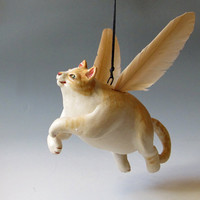 Watch out for Flying Cats Hand sculpted Ceramic by MaidOfClay
