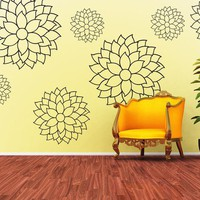 Vinyl Wall Decal Sticker Art - Cheerful and Delicate Mums