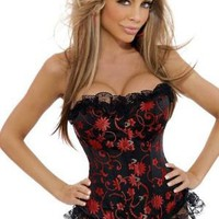 Strapless Flower Brocade Corset