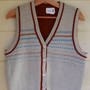 Vintage Men&#x27;s Sweater Vest by Trissi V Neck Button Up Sweater Vest