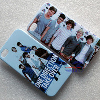 2PCS NEW 1D One Direction Crew Hard Back Case Cover for iphone 4 4S 4G White D1L