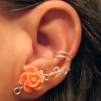 "Non Pierced Ear Cuff  ""Desert Rose"" Cartilage Conch Cuff Silver tone and Peach Lucite Rose"
