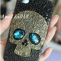 Punk style iPhone Case Black Swarovski Crystals case with brass Blue Eyes Skull steampunk iphone 4 Case iPhone 4s Case unique iphone 5 case