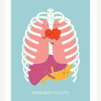 $30.00 Hugs Keep Us Alive  Print by ilovedoodle on Etsy