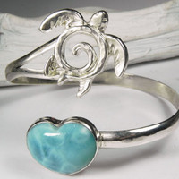 Sea Turtle Bracelet - Larimar Heart Turtle Cuff - Blue Larimar Large Cuff Bracelet - Unique Sea Turtle Larimar Jewelry - I Love Sea Turtles