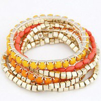 Yellow and Orange Beaded Multi Strand Bracelet Set wholesale