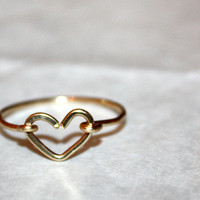SWEET HEART RING / handmade hypoallergenic 14 karat gold wire-wrapped ring  / ft. 14 karat gold / gifts under 25