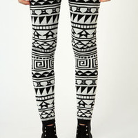 Shona Aztec Print Thick Knitted Leggings