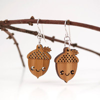 Acorn Earrings: Bamboo Wood Kawaii Happy Acorn Shepherd Hook Dangle Rhodium Earrings