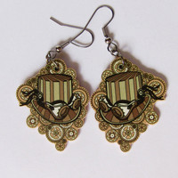 Steampunk hat earrings by ketchupize on Etsy